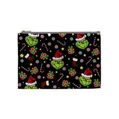 Grinch Pattern Cosmetic Bag (medium)  by Valentinaart