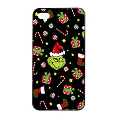 Grinch Pattern Apple Iphone 4/4s Seamless Case (black) by Valentinaart