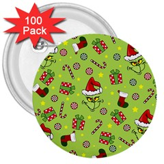 Grinch Pattern 3  Buttons (100 Pack)  by Valentinaart