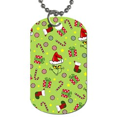Grinch Pattern Dog Tag (two Sides) by Valentinaart