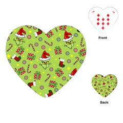 Grinch Pattern Playing Cards (heart)  by Valentinaart