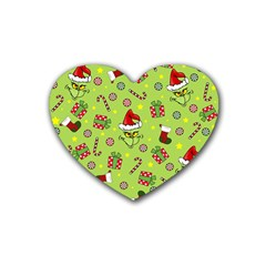 Grinch Pattern Rubber Coaster (heart)  by Valentinaart