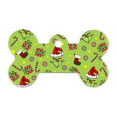 Grinch Pattern Dog Tag Bone (two Sides) by Valentinaart