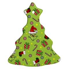 Grinch Pattern Christmas Tree Ornament (two Sides) by Valentinaart