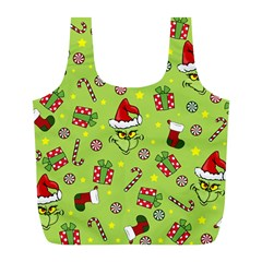 Grinch Pattern Full Print Recycle Bags (l)  by Valentinaart