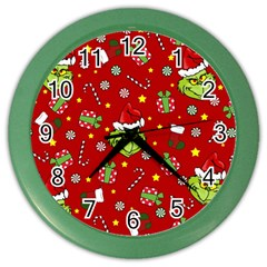 Grinch Pattern Color Wall Clocks by Valentinaart