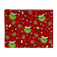Grinch Pattern Cosmetic Bag (xl) by Valentinaart