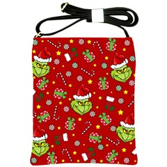 Grinch Pattern Shoulder Sling Bags by Valentinaart