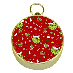 Grinch Pattern Gold Compasses by Valentinaart