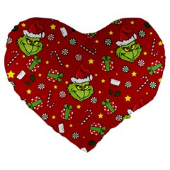 Grinch Pattern Large 19  Premium Flano Heart Shape Cushions by Valentinaart