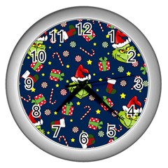 Grinch Pattern Wall Clocks (silver)  by Valentinaart