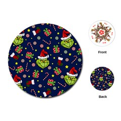 Grinch Pattern Playing Cards (round)  by Valentinaart