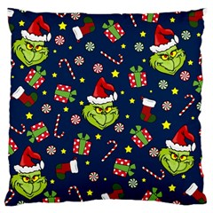 Grinch Pattern Large Cushion Case (one Side) by Valentinaart