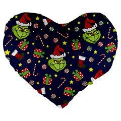 Grinch Pattern Large 19  Premium Heart Shape Cushions by Valentinaart