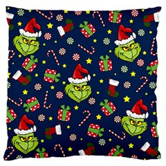Grinch Pattern Large Flano Cushion Case (one Side) by Valentinaart