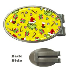 Grinch Pattern Money Clips (oval)  by Valentinaart