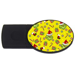 Grinch Pattern Usb Flash Drive Oval (4 Gb) by Valentinaart