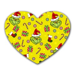 Grinch Pattern Heart Mousepads by Valentinaart
