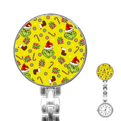 Grinch Pattern Stainless Steel Nurses Watch by Valentinaart