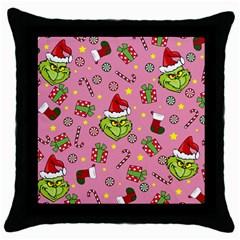 Grinch Pattern Throw Pillow Case (black) by Valentinaart