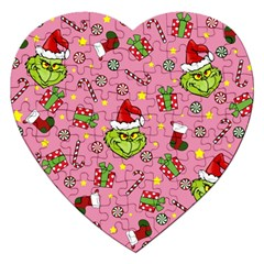 Grinch Pattern Jigsaw Puzzle (heart) by Valentinaart