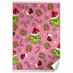 Grinch Pattern Canvas 24  X 36  by Valentinaart