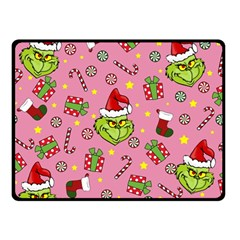 Grinch Pattern Fleece Blanket (small) by Valentinaart
