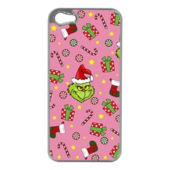 Grinch Pattern Apple Iphone 5 Case (silver) by Valentinaart