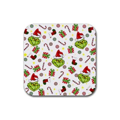 Grinch Pattern Rubber Square Coaster (4 Pack)  by Valentinaart