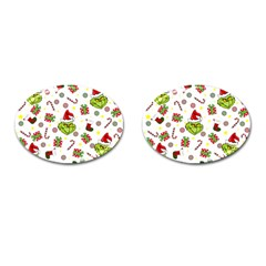 Grinch Pattern Cufflinks (oval) by Valentinaart
