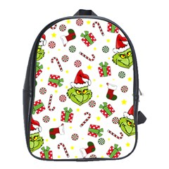 Grinch Pattern School Bag (xl) by Valentinaart