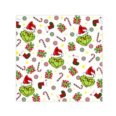 Grinch Pattern Small Satin Scarf (square)