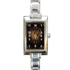 The Sign Ying And Yang With Floral Elements Rectangle Italian Charm Watch by FantasyWorld7