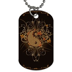 The Sign Ying And Yang With Floral Elements Dog Tag (two Sides) by FantasyWorld7