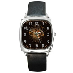The Sign Ying And Yang With Floral Elements Square Metal Watch by FantasyWorld7