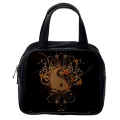 The Sign Ying And Yang With Floral Elements Classic Handbags (one Side) by FantasyWorld7