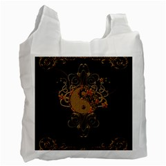 The Sign Ying And Yang With Floral Elements Recycle Bag (one Side) by FantasyWorld7