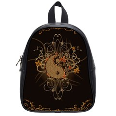 The Sign Ying And Yang With Floral Elements School Bag (small) by FantasyWorld7