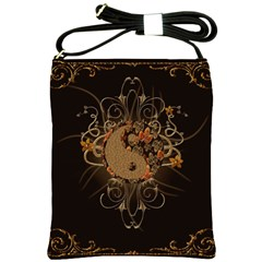 The Sign Ying And Yang With Floral Elements Shoulder Sling Bags by FantasyWorld7