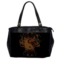 The Sign Ying And Yang With Floral Elements Office Handbags by FantasyWorld7