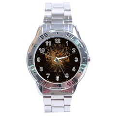 The Sign Ying And Yang With Floral Elements Stainless Steel Analogue Watch by FantasyWorld7