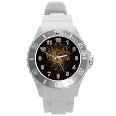 The Sign Ying And Yang With Floral Elements Round Plastic Sport Watch (l) by FantasyWorld7