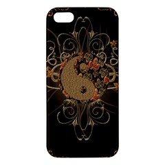 The Sign Ying And Yang With Floral Elements Apple Iphone 5 Premium Hardshell Case by FantasyWorld7