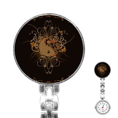 The Sign Ying And Yang With Floral Elements Stainless Steel Nurses Watch by FantasyWorld7