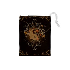 The Sign Ying And Yang With Floral Elements Drawstring Pouches (small)  by FantasyWorld7