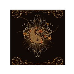 The Sign Ying And Yang With Floral Elements Small Satin Scarf (square)