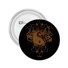 The Sign Ying And Yang With Floral Elements 2 25  Buttons by FantasyWorld7