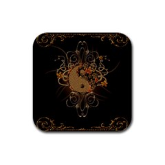 The Sign Ying And Yang With Floral Elements Rubber Coaster (square)  by FantasyWorld7