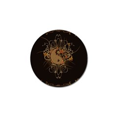 The Sign Ying And Yang With Floral Elements Golf Ball Marker (4 Pack) by FantasyWorld7