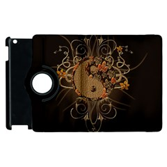 The Sign Ying And Yang With Floral Elements Apple Ipad 3/4 Flip 360 Case by FantasyWorld7